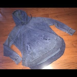 Ocean Drive Distressed Blue Pullover Hoodie, Small